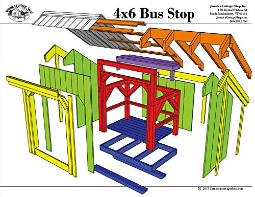 Timber Frame Post and Beam Shelter Plans - 4x6 Bus Stop - Small Outside Shelter with Built-in Bench - Step-By-Step DIY Plans