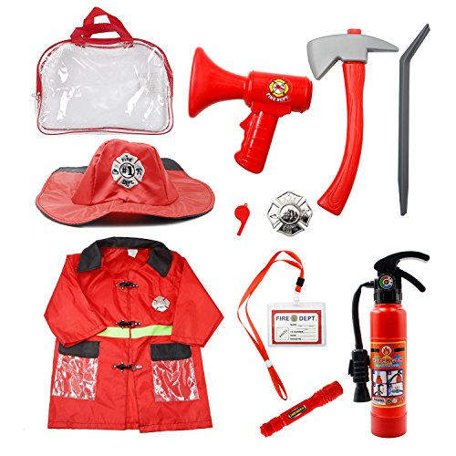 Mizzuco Kids Fireman Gear Firefighter Costume Role Play Dress-up Toy Set with Real Water Shooting Extinguisher (10pcs) (Fireman Costume) -