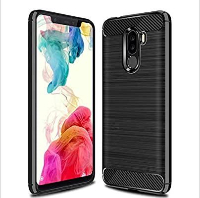 Xiaomi Pocophone F1 Case, Shockproof Brushed Rugged Anti-Drop Carbon Fiber Rubber Soft Silicone Full-Body Protective Cover for Xiaomi Pocophone F1 ...