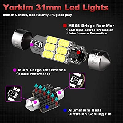 Yorkim Super Bright 31mm Festoon LED Bulbs White, Error Free Canbus 6-SMD 5730 Chipsets, DE3022 LED Interior Car Lights DE3175 LED Bulbs for dome map light - Pack of 4: Automotive