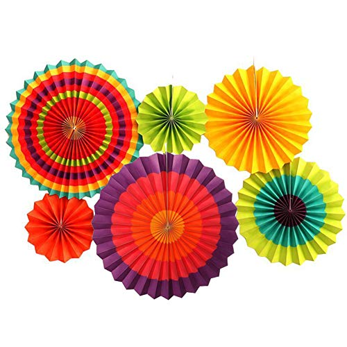 (6pcs/Set Paper Fan Charm Colorful Hanging Flower Paper Fan Round Set Birthday Party Wedding Festival Decoration Event Supplies)