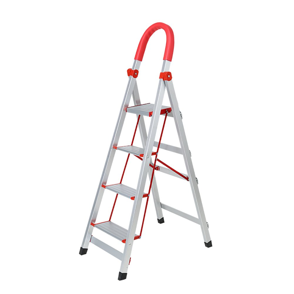 YXX- Aluminium Folding Step up Ladder Stool with Handle Small Flower Rack Anti-Slip Foldable Stepladder Portable Fold up Footstool (Color : Orange, Size : 3 Tiers)