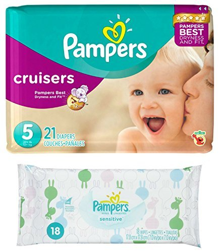 Diaper / Baby Wipe Travel Pack | Includes Pampers Cruisers Size 5 (21 count) and Sensitive Wipes Resealable Container (18 count)