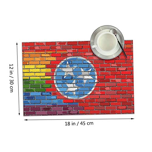 (Coolfun Tennessee Flag Gay Pride LGBT Art Wall Themed Print Pattern 4 Piece Set of Placemats Pc Party Kitchen Dining Room Home Table Place Mat Patio Holidays Decorations Decor Ornament )