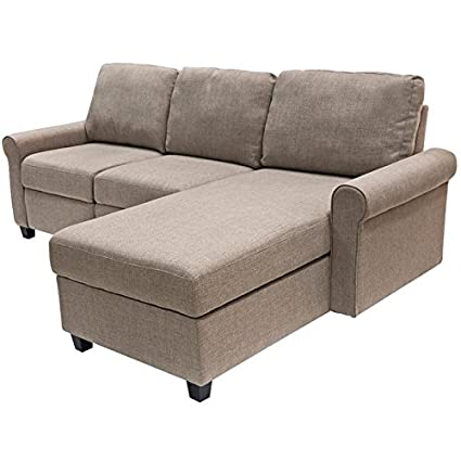 Serta Copenhagen Reclining Sectional With Right Storage Chaise   Beige