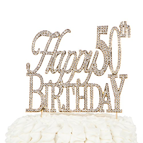 Happy-50th-Birthday-Cake-Topper-50-Gold-Crystal-Rhinestone-Party-Decoration-Happy-50th-Birthday-Gold