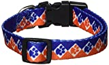 Casual Canine Polyester Collegiate Paws Dog Collar, 10-16-Inch, Blue/Orange