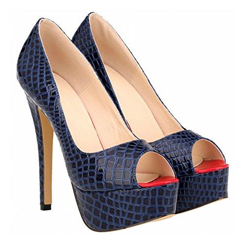 High Krokodil Fisch Classic Pumpen Zhuhaixmy Plattform Mund Schuhe Blue Heels Muster Super Frau 0v0EcfqF