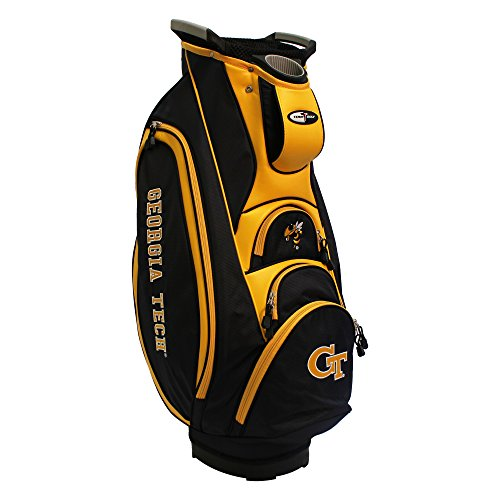 Team Golf NCAA Georgia Tech Yellow Jackets Victory Golf Cart Bag, 10-way Top with Integrated Dual Handle & External Putter Well, Cooler Pocket, Padded Strap, Umbrella Holder & Removable Rain -