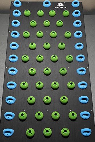 Crossfit & Ninja Warrior Training 15 Degree Pegboard System Wall   Screw-on Rock Climbing Holds   Blue & Green