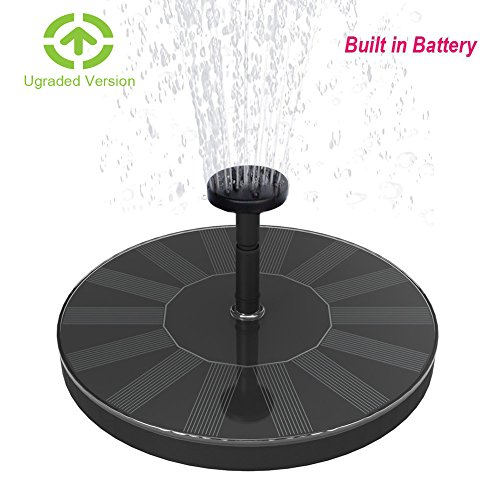 Skywee Upgraded Solar Fountains with Battery Backup, 1.5W Auto Shut-off Solar Powered Submersible Birdbath Fountain Pump, Outdoor Water Pump Solar Pannel Kit for Pond, Fish Tank, Pool, Aquarium by Skywee