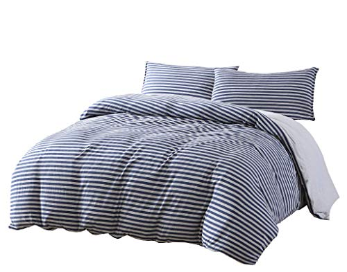 Chezmoi Collection Levi 3-Piece Striped Heather Cotton Jersey Duvet Cover Set - Solid Reversible Ultra Soft and Breathable - Comforter Cover with Button Closure and 2 Pillowcases (King, Navy/Gray) (Duvet King Ensemble)