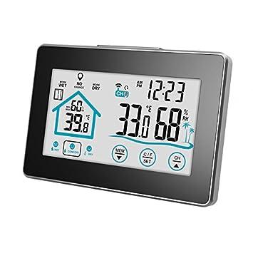 Wellouis Reloj inalámbrico de la estación meteorológica con termohigrómetro Digital, termómetro para Clima Interior Indicador de higrómetro, Temperatura de ...