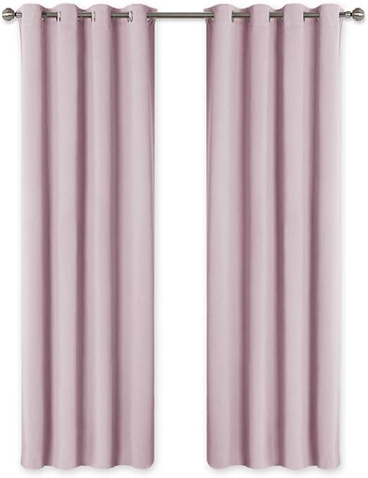 PONY DANCE Rideaux Salon Thermiques - 140cm x 240cm, Rose Clair Rideaux à  Oeillets de Fenêtre Draperie Isolation Lumineux Décoration pour Chambre du  ...