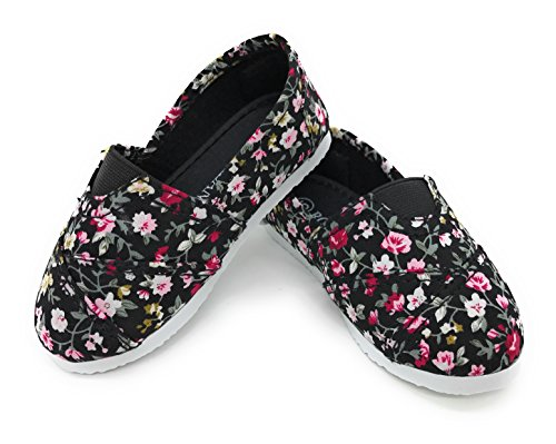 Blue Berry EASY21 Toddler's Adorable Elastic Strap Flat,Black Floral 16,Size (Adorable Flat)
