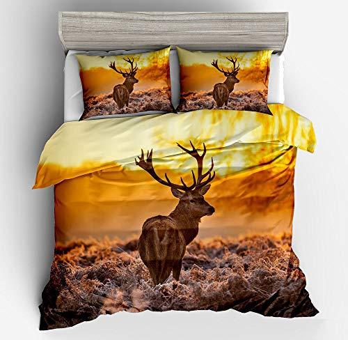 Abojoy Elk Printed Duvet Cover Set Twin Size - 3D Deer Wapiti on Prairie Savanna Grass Sunset Wildlife Animal Pattern Bedding Sets (1 Quilt Cover + 1 Pillowcase), Yellow and Black
