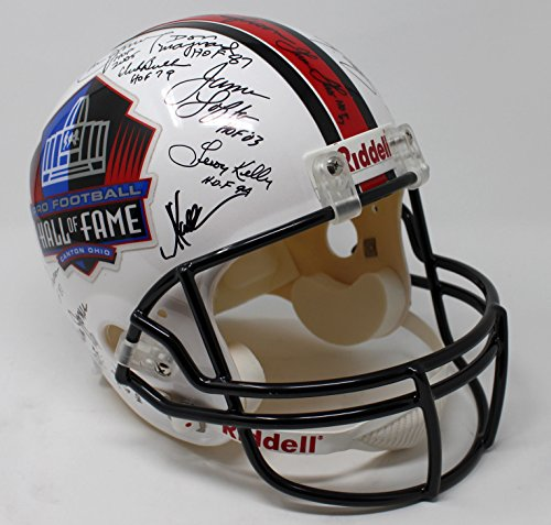 NFL PRO FOOTBALL HALL OF FAME HELMET SIGNED BY 34 PLAYERS MARINO MONTANA JSA MM
