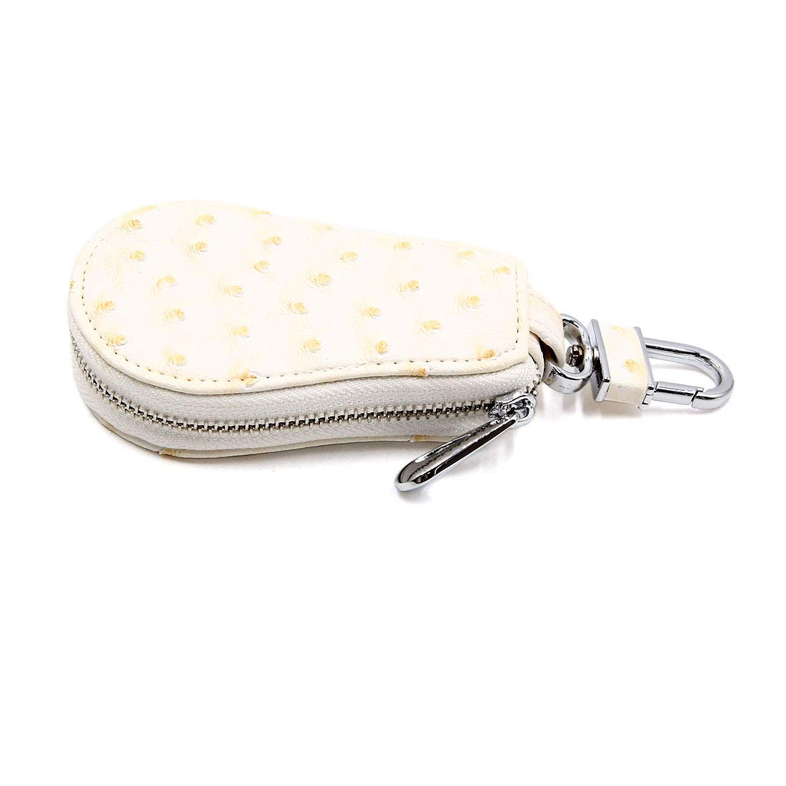 uxcell White Faux Leather Gourd Shaped Key Coin Storage Holder Zipper Bag for Car