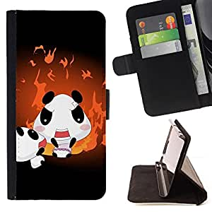 For HTC One M8 - Cute Panda Family /Funda de piel cubierta de la carpeta Foilo con cierre magn???¡¯????tico/ - Super Marley Shop -