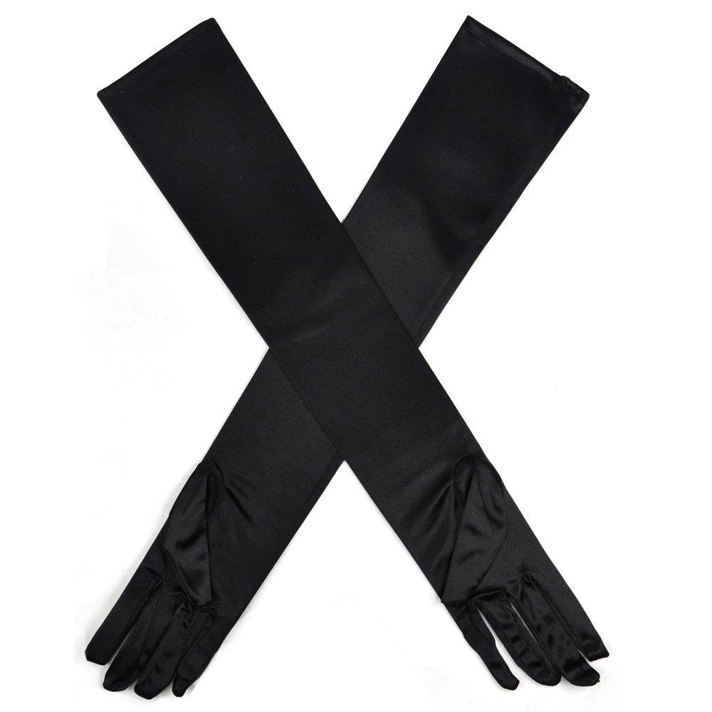 TRIXES Elegantes guantes largos hechos de imitaci/ón de guantes de seda sint/ética Negro
