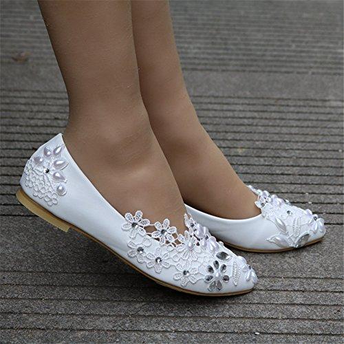 ee46d8b6 50% de descuento MSFS Zapatos De Mujeres Pisos Boda Bailarina Perla  Apliques De Encaje Novia