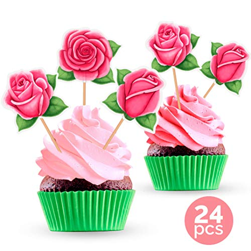 Floral Party Cupcake Toppers - Rose Flower Theme Decorations Supplies for Birthday, Baby Shower, Wedding, Bridal Shower - 24 Pieces