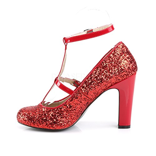 Pink Label Big Size Glitter High Heels Pumps Queen-01 mit T-Spange rot Rot