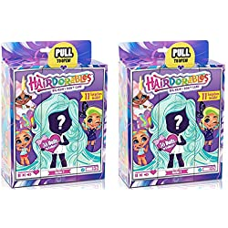 Hairdorables Dolls Bundle (2 Pack) Collectible Series 1 Surprise Doll (Styles May Vary) + Bonus Handmade Shopkin Ornament