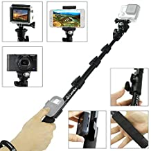 "CamKix Premium Telescopic Pole 16"" - 47"" - For Gopro Hero 5 / 4, Session, Black, Silver, Hero+ LCD, 3+, 3, 2, 1, and Compact Cameras; and Cell Phones - With Cradle for Remote - Strong and Stable Clip Locks"