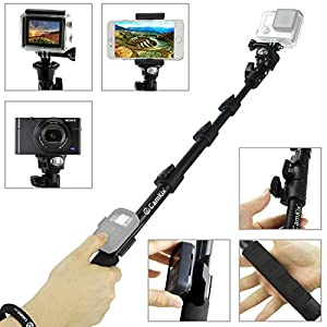 """CamKix Premium Telescopic Pole 16"""" - 47"""" - For Gopro Hero 5 / 4, Session, Black, Silver, Hero+ LCD, 3+, 3, 2, 1, and Compact Cameras; and Cell Phones - With Cradle for Remote - Strong and Stable Clip Locks"""