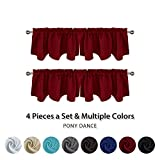 valances for bay windows PONY DANCE Red Scalloped Valances - Kitchen Windows Home Christmas Decoration Thermal Insulated Blackout Curtain Tiers with Rod Pocket Top for Bay Window Kitchen Bedroom, 42 x 18 Inch, Pack-4