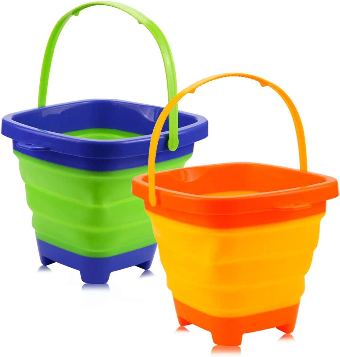 butterfunny 2 Pack 2L Square Foldable Buckets, Foldable Silicone Pail Buckets Sand Buckets, Silicone Collapsible Bucket for Kids Beach Play, Water and Food Jug, Dog Bowls(Yellow and Greeen)