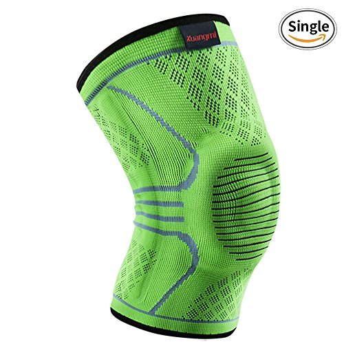 Kuangmi Knee Compression Sleeve Knee Brace Support for Running,Basketball,Joint Pain Relief,ACL,PCL,Arthritis & Injury Recovery Single Wrap(Upgrade Green) (XX-Large(Single))