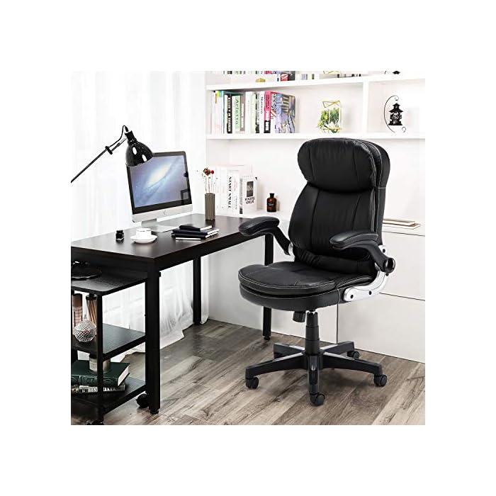 518IT9kbV8L Diseño ergonómico: el diseño del soporte lumbar y el reposacabezas de apoyo proporcionan un apoyo cómodo. Nuestro sillón te ofrece una gran comodidad elástica y un fuerte soporte de espalda. Alivia y reduce eficazmente el dolor de espalda Uso universal: nuestra silla clásica de cuero se adapta a varios tipos de oficina. El sillón de cuero tiene almohadillas de cojín y cojín de cuero acolchado negro, te hacen sentir cómodo y lleno de fuerza todo el día Cumple con las normas BIFMA: la funda de piel sintética respetuosa con el medio ambiente garantiza un uso a largo plazo. El elevador de gas y los reposabrazos cumplen con las normas BIFMA. Base de acero de cinco estrellas con un diámetro de 70 cm, garantiza una estabilidad general y muy robusta y duradera. Capacidad de peso de hasta 127 kg
