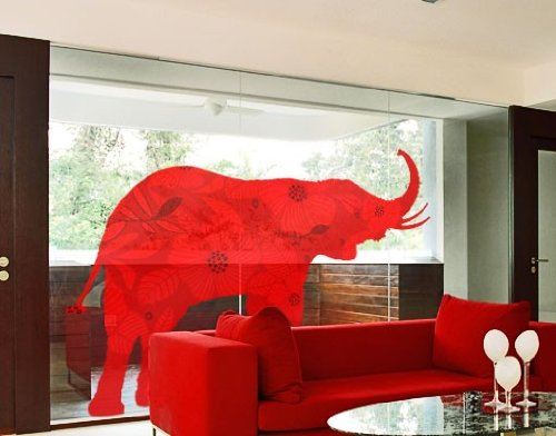 Window Sticker red deco style elephant window film window tattoo glass sticker window art window décor window decoration window picture Dimensions: 56.7 x 75.6 inches by PPS. Imaging