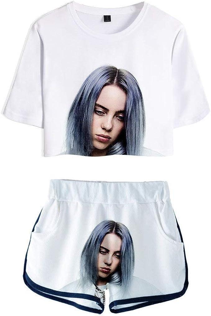 Billie Eilish Mode T Shirt Shorts Anzug Sport T Shirts Und Shorts Kompatibel Mit Mannern Und Frauen Geeignet Fur Musikfans Anhanger Amazon De Bekleidung