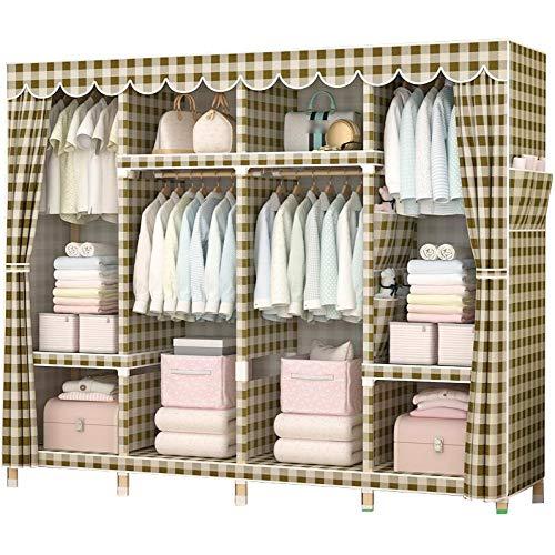 Cotton Armoire (HMEIGUI Portable Clothes Closet Cloth Wardrobe - Brushed Cotton Armoire Wardrobe Closet Shelves Storage Organizer, Reinforced Solid Wood,Lattice_68x66 inch)