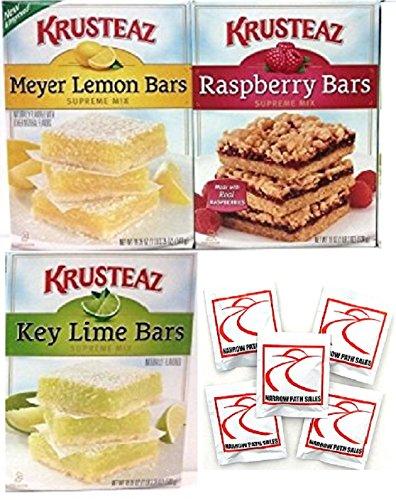 Krusteaz Fruity Dessert Bars Squares Variety Bundle of 3, Key Lime Bars, Meyer Lemon Bars, Raspberry Bars, Care Package Gift Box