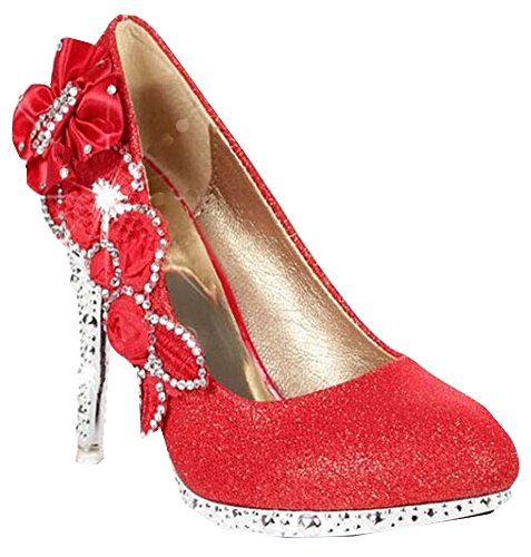 Bouche Femme Peu Strass Profonde Rouge De Avec Chaussure Chaussures Xiuhong xqTSgwEB