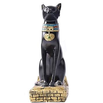 Gato Negro Egipto Pirámide del Gato Decoraciones Caseras Creativas De La Resina Regalos Prácticos del Hogar Resina Suave Artware Estilo Clásico,Black: ...