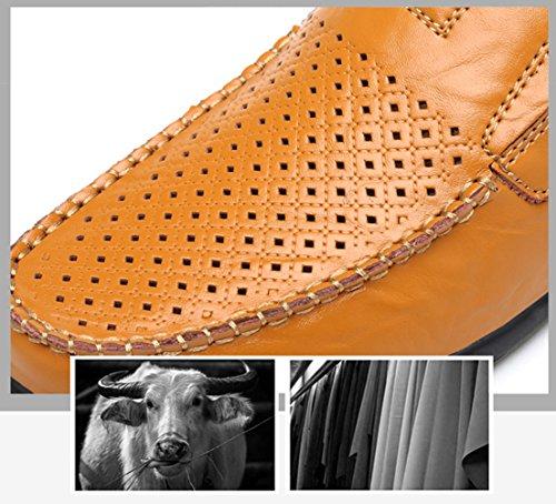 Seaoeey Cordones hollow Yellow Planos Zapatos Hombre con Brown rwZqprxt4a