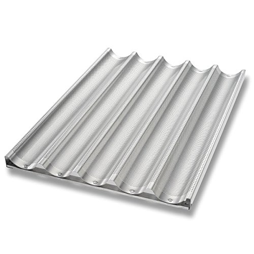 Chicago Metallic 49035 Baguette/French Bread Pan, Uni-Lock, Makes (5) 3'' x 25.75'' Loaves, Glazed 16-ga. Aluminum
