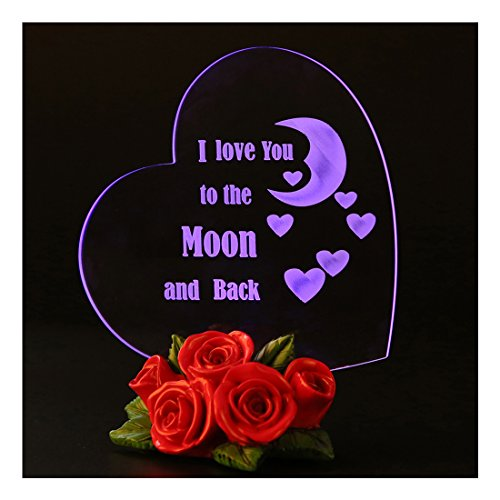 Giftgarden Mom I Love You to the Moon and Back Heart Shaped Cake Toppers LED Decor Mother gift, Grandma gift, Friends Gifts Best Christmas Gift Received
