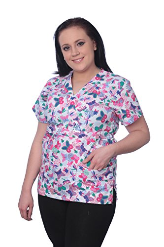 Missy Size Medical Womens Printed Scrub Tops, V-Neck 2 Pocket (761-Pink/Butterfly, S)