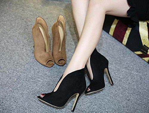 de Chaussures Boots 10cm hauts Suede Femmes Toe Classique Talons Black mariage Chaussures Chaussures Pump Color 35 Scarpin Cool habillées Chaussures Pure 41 Taille Peep qdP7qx