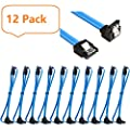 10 Pack 18 Inch SATA III 6.0 Gbps Data Cable with Locking Latch and 90-Degree Plug, Blue