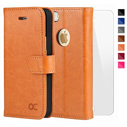 OCASE iPhone 5 Case iphone 5S Case [Free Screen Protector Included] Leather Wallet Flip Case for iPhone 5 / 5S / SE Devices - Light Brown