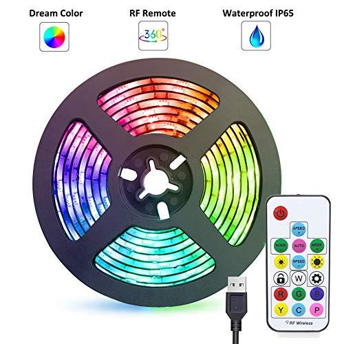 LED Strip Lights USB Powered abtong Rainbow Color LED Lights Strip LED TV Backlight Strip with RF Remote Color Changing Strip Lights LED Rope Lights Waterproof IP65 LED Lights 2M 6.54FT