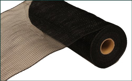 10 Inch x 30 Feet Deco Poly Mesh Ribbon - Black Non Metallic : - Black Material Mesh