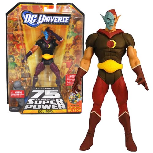 "Mattel Year 2009 DC Universe ""DC Comics 75 Years of Super Power"" Wave 12 Classics Series 6 Inch Tall Action Figure #1 - ECLIPSO with Darkseid's Left Leg Plus Bonus Collector Pin (R5779)"